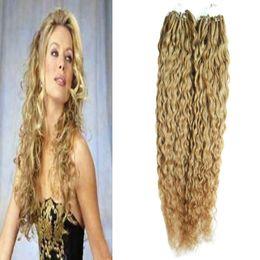 extensões virgens do cabelo humano do laço micro Desconto Cabelo virgem brasileiro mel loiro encaracolado micro bead extensões de cabelo 200g micro anel extensões de cabelo humano 1 g / s 200 s micro loop 1g encaracolado