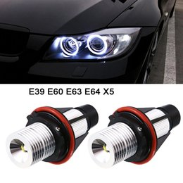 Wholesale Bmw Led Marker - 2pcs 1000LM Angel Eyes Car LED Halo Ring Marker Bulbs Light 5W 6000K White for BMW X5 E39 E53 E60 E63 E64 CLT_60A