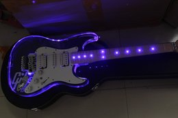 Wholesale Electric Guitar Locking Tremolo - Custom Shop Acrylic Body Blue LED Maple Fingerboard ST Standard Electric Guitar Floyd Rose Tremolo H-S-H Pickups Locked Nut