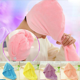 Wholesale Microfiber Absorbent Hair Towels - Microfiber Fabric thickening Dry Hair Hat Turban Super Absorbent Amazing Magic Quick-drying Hair Shower Cap Bath Towel