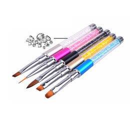 Wholesale Liquid Gel Pen - Nail Art Brush Pen Rhinestone Diamond Metal Acrylic Handle Carving Powder Gel Liquid Salon Liner Nail Brush With Cap ZA2094