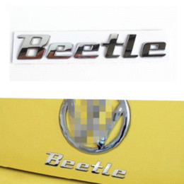 Wholesale Volkswagen Beetle Vw - 3D Chrome Metal Sticker Beetle Emblem Badge Logo Decal For Volkswagen VW Beetle TDI TSI Rear Trunk Auto Car Styling Accessories