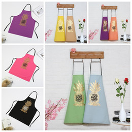 Wholesale Wholesale Aprons For Women - 9 Style Pineapple Printing Home Kitchen Cooking Apron Fashion Restaurant Aprons for Men Women YYA382 20 pcs
