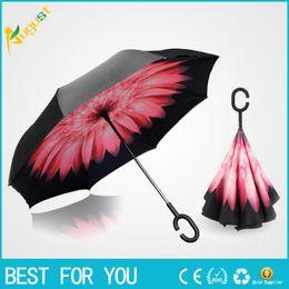 Wholesale Pole Car - New hot Rewind car sun umbrella reverse umbrella double sunscreen creative straight pole sunny umbrella