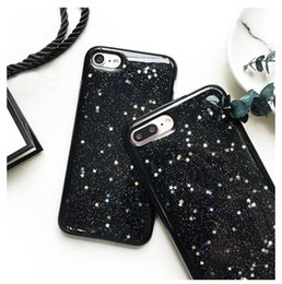 Wholesale Cover Case Star - Soft Glitter Stars TPU Case For iPhone 6 6S 7 Plus Bling Black Skin Cover free post 1pcs