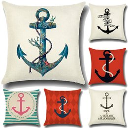 Wholesale anchor pattern - Square Cushion Cover Anchor Pattern 45*45cm Throw Pillow Case Decorative Car 1 Side Print Almofadas Pillow Cover