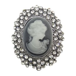 Wholesale Filigree Engagement - Gothic Victorian Filigree Vintage Cameo Brooch Pendant With Crystals Womens