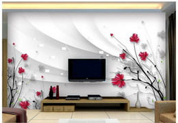 Wholesale Country Kitchen Sets - Free shipping High Quality Custom 3d photo wallpaper murals Beautiful flowers hd hand-painted line 3 d TV setting wall decor room wallpaper