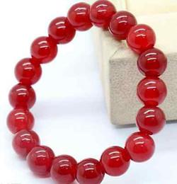 Wholesale Jade Green Beads Bracelet - HOT Natural 8mm Red Ruby Jade Gemstone Round Beads Bracelet 7.5''AAAAA