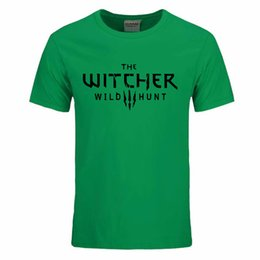 Wholesale Men Hunting Clothing - 2017 The Witcher 3 T Shirt Summer Style Men Cotton Fashion T-Shirt Wild Hunt Men Clothing Tops O-Neck Short Sleeve Tee