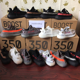 Wholesale Copper Rubber - send shoes box boost 350 V2 Triple White Bred Zebra Belgua Core Red Copper Olive Green Black Red SPLY 350 V2 kanye west Running shoes