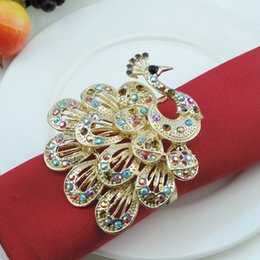 Wholesale Peacock Diamond Ring - Wholesale- 2pcs Peacock napkin rings colored diamonds napkin buckle home hotel restaurant model room decorations wedding table decoration