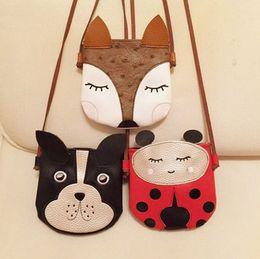 Wholesale Wholesale Handmade Purses Children - Kids bag Girls cute Animal Bag Ladybug dog fox messenger bags Cute One-Shoulder Bag Fashion children PU Handmade Kids Purses toy T4856
