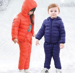 2a1ad75b1c019 Enfants Down Jacket Costume Fille Hiver Ski Costume Russe Garçon Ski Sports  Doudoune Set Mode Enfants Hiver Costume Plus Épais