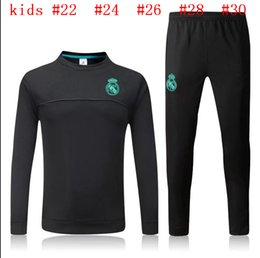 Wholesale Children S Wear Boys - HOT 2017 2018 Kids Long Sleeve Real Madrid Tracksuit Jogging Boys Soccer kit Football Suit Sport Wear Children 17 18 Ronaldo training SUIT