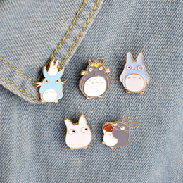 Wholesale Enamel Animal Collar - Wholesale- My Neighbor Totoro Series Brooch Pins Enamel Metal Kawaii Animal Brooches Set Denim jacket Collar Pin Badge Fashion Jewelry