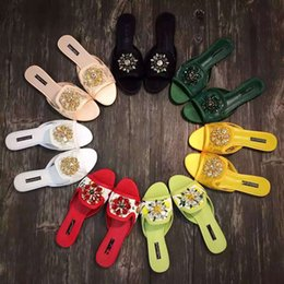 Wholesale Flip Flops Rhinestones - Newest summer Women Slippers lace flat Heels colorful crystal flowers embellied Mules rhinestone flip flops beach Shoes chaussure femme