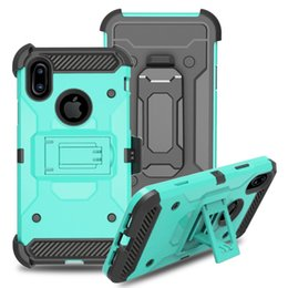 Wholesale Apple Rugged Protection - Heavy Duty Rugged Armor Cell Phone Protection Defender Holster Clip Case For iPhone X 5s se 6s 7 plus 8 Cover Kickstand Shockproof