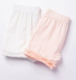 Wholesale Safety Wears - Summer Girls Lace ruffle Cotton Legging children lace safety shorts Princess Cropped Trousers Dress Foot Wear leggings T1027 pink white