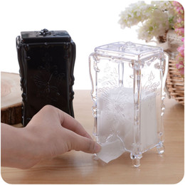 Wholesale Tissue Paper Plastic Cover - Wholesale- New Design Stand Tissue Box black Cover For Home Room Napkin Holder Toilet paper Box Large Rack Broader Decorative Tissue Box