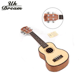 Wholesale Solid Wood Acoustic - Wholesale-Acoustic Guitar 21 inch 15 Frets 4 Strings Spruce Mahogany Small Guitar Hawaii Closed Knob Wood Color US-54A Uk Dream