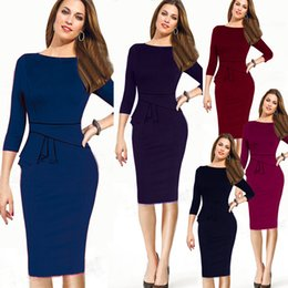 Wholesale Career Dresses Sleeves - 4 colors autumn Career Female Peplum Work Dress 3 4 Sleeve O Neck Women Fashion Elegant Business Bodycon Pencil Dress