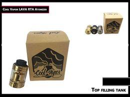 Wholesale Lava Vapor Cigarette - 100% original Coolvapor Lava RTA Atomizer Cool Vapor Lava Tank with 3ml   Top Filling   Bottom Adjustable Airflow for E Cigarette free DHL