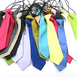 Wholesale Elastic Boy Tie - Solid Color Children Necktie Kid's Tie Baby Boy School Wedding Elastic Neckties neck Ties
