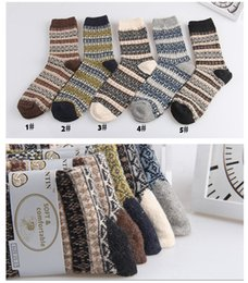 Wholesale Socks Hair - Men's Socks Rhombic Cells Men's Casual Cotton Cony Hair Hot Wool Socks 2017 New Style Men Winter Thermal Warm Socks