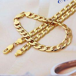 Wholesale Gf Bracelets - 18K White yellow gold GF filled Men's Women Necklace   Bracelets   Chain Set