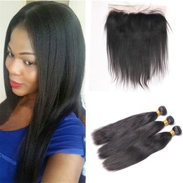 Wholesale Straight Light Yaki Weave - Light Yaki Brazilian Virgin Hair 3 Bundles With Lace Frontal Closure Yaki Straight Human Hair Weaves 3Pcs With 13*4 Lace Frontal