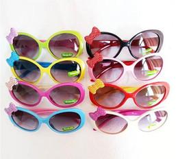 Wholesale Toddlers Glasses Frames - gilrs colors glasses Sun Glasses for Toddlers Kids Plastic Frame Sunglasses Girls Baby Bowknot Cat Eye Shades Goggles Eyewear UV400
