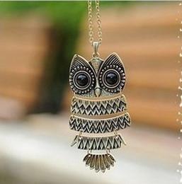 Wholesale Cute Owl Necklace Big Eyes - Wholesale-Retro Necklace Bronze Silver Cute Owl Necklace With Big Eye Pendant Design Long Sweater Chain Jewelry Women Necklace