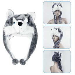Wholesale Husky Wolf Cartoon - 1 pcs Cartoon Animal Style Wolf Hat Cute Fluffy kids Cap Soft Warm Scarf Earmuff Plush Hat Mascot Huskies Hat new hot selling