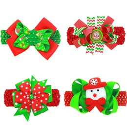 Wholesale Snowflakes Wrap - 12 Styles Striped wave point snowflake Bow Colorful Ribbon Hair Accessories Wrap clip barrettes Children infant hairpins Christmas gift