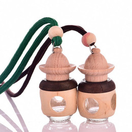 Wholesale Wooden Valentine Gifts - Cute Wooden Essential Oil car Pendant MINI Perfume Bottle Necklace Pendant Women Charms Accessories Valentine Gift Favor F2017169