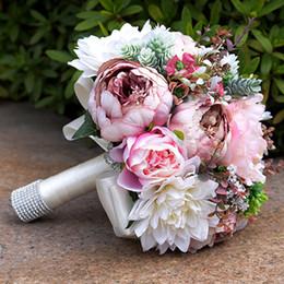 Peonie reali online-2019 Gorgeous Pink Real Touch Fiori Bouquet di peonie per Matrimonio Peonie Bouquet da sposa Centrotavola Decorazione della casa