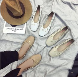 Wholesale Beige Colored Shoes - 2017 new art wild light-colored square head flat soft shoes shallow mouth shoes rivets bow shoes