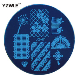 Wholesale Nail Art Stamping Stencils - Wholesale- YZWLE 1 Pc Stamping Nail Art Image Plate, 5.6cm Stainless Steel Nail Stamping Plates Template Manicure Stencil Tools (JQ-47)