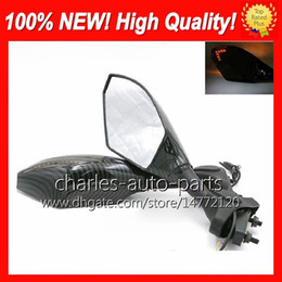 Wholesale Suzuki Motorcycles Mirrors - Universal Motorcycle LED Turn Signal Mirrors turn light Mirror Black Carbon turnning light For SUZUKI GSXR600 750 GSXR1000 GSXR1300 KATANA