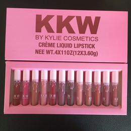 Wholesale High Quality Lipsticks - Latest Kylie Kim Kardashian KKW By Kylie Cosmetics Lipstick Liquid Lipstick Set of 12 Color High Quality Kylie KKW Makeup DHL Free shipping