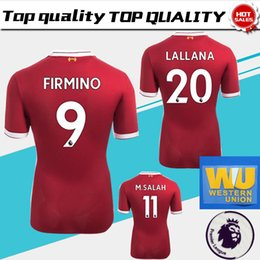 Wholesale Army 4xl - #10 COUTINHO home red Soccer Jersey 17 18 #11 M.SALAH soccer shirt 2018 # 9 FIRMINO #19 MANE Football uniforms have Premier League patches