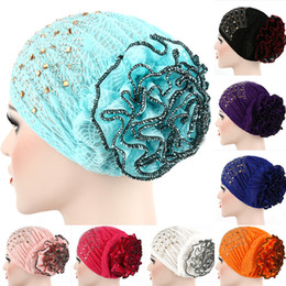 Wholesale Golf Candies - New Candy Colors Women Headwear Lace Hot Drilling Headwrap African Head wrap Twist Hair Band Turban Bandana Hijab Accessories