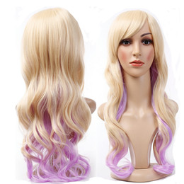 Wholesale Hot Pink Wig Heat Resistant - Ombre Beige Lilac Hair Hot Fashion Long Wave Cosplay Costume Synthetic High Heat Resistant Full Wig Free Shipping Purple Pink