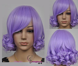 Wholesale Light Purple Curly Cosplay Wig - Wholesale free shipping >>>>New Women light purple short curly cosplay wig + wig cap