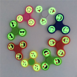 Wholesale Spinning Glow Toys - Smile Smiling Face Hand Fidget Spinner Luminous Expression Fidget Spin Emoji Fingertips Spiral Fingers Gyro Toys Glow In The Dark Light Hot