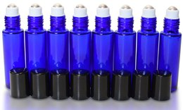 Wholesale Essential Glass Bottle - Hot cosmetic refillable 10ml (1 3oz) cobalt blue glass roll on bottle Essential oils Fragrances Roller ball bottle Pactory Frice -Wholesale