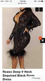 Wholesale Long Sleeve Shinny Party Dress - Sexy Black Sequined Mini Short Prom Dresses 2018 V-neck Long Sleeves Shinny Celebrity Dresses Cocktail Club Party Gowns