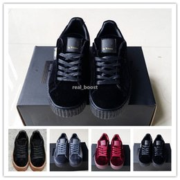 Wholesale Black Velvet Boxes - Rihanna Creepers Fenty Velvet Creeper Trainers Burgundy Red Black Grey With Original Box Suede Creeper Sneakers 36-44