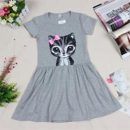 Wholesale 8years Girl - Hot Sale New 2017 summer girl dress cat print grey baby girl dress children clothing children dress 0-8years